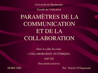 PARAM�TRES DE LA COMMUNICATION ET DE LA COLLABORATION
