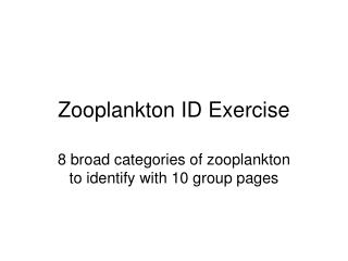 Zooplankton ID Exercise