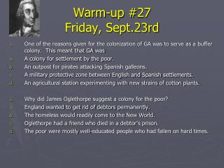 Warm-up #27 Friday, Sept.23rd