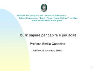 I bulli: sapere per capire e per agire Prof.ssa Emilia Canonico Avellino 29 novembre 20012