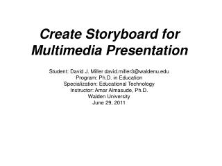 Create Storyboard for Multimedia Presentation