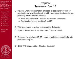 Topics Telecon -  Dec 18
