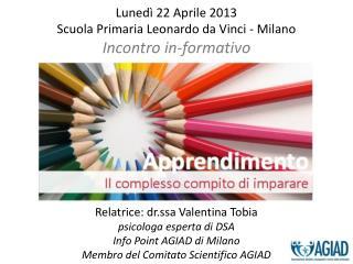 Lunedì 22 Aprile 2013  Scuola Primaria Leonardo da Vinci - Milano Incontro in-formativo