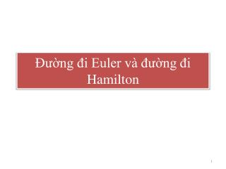 Đường đi Euler và đường đi Hamilton