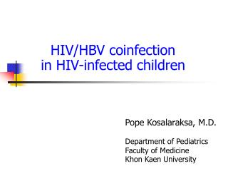 HIV/HBV coinfection in HIV-infected children