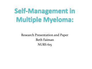 Self-Management in Multiple Myeloma: