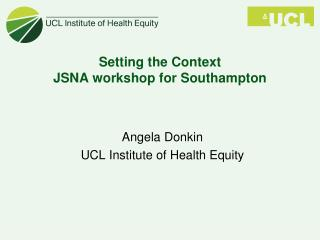 Setting the Context JSNA workshop for Southampton