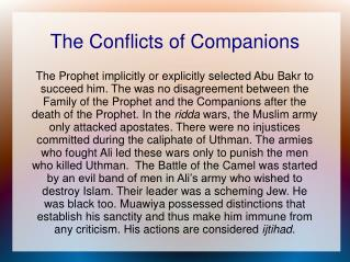 The Conflicts of Companions