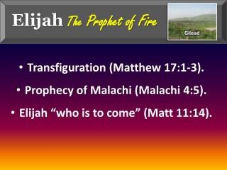 Elijah The  Prophet of Fire