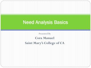 Need Analysis Basics