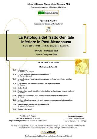 La Patologia del Tratto Genitale Inferiore in Post-Menopausa