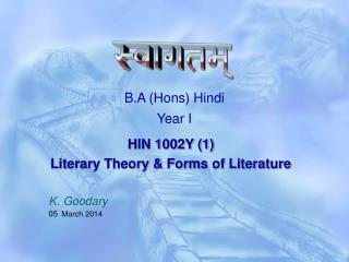 B.A (Hons) Hindi Year I
