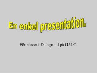 För elever i Datagrund på G.U.C.