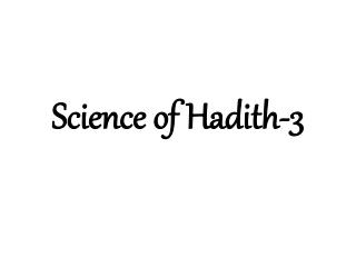 Science of Hadith-3