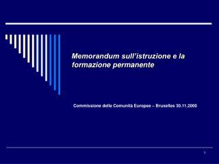 Memorandum sull�istruzione e la formazione permanente
