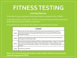 Writing a Personal Exercise Programme P.E.P