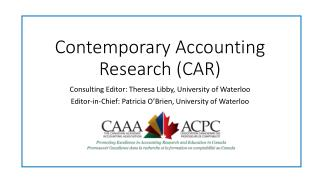 Contemporary Accounting Research (CAR)