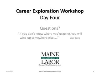 Career Exploration Workshop Day Four