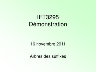IFT3295 Démonstration