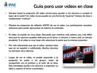 Guía  para usar videos en clase