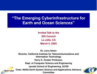 """The Emerging Cyberinfrastructure for Earth and Ocean Sciences"""