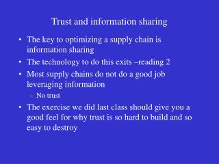 Trust and information sharing