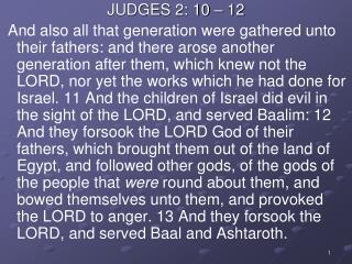 JUDGES 2: 10 – 12