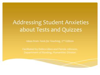 Addressing Student Anxieties about Tests and Quizzes