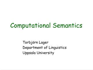 Computational Semantics