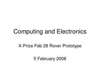 Computing and Electronics
