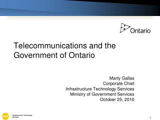 Telecommunications and the Government of Ontario