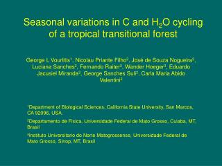 Seasonal variations in C and H 2 O cycling of a tropical transitional forest