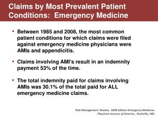 Claims by Most Prevalent Patient Conditions:  Emergency Medicine
