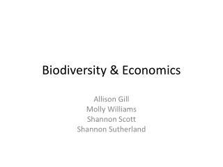 Biodiversity & Economics