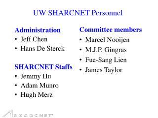 UW SHARCNET Personnel