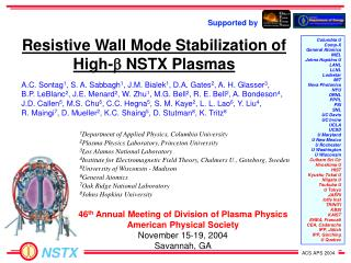 Resistive Wall Mode Stabilization of High- b  NSTX Plasmas