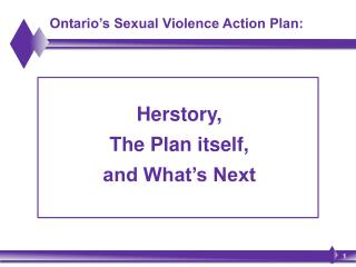 Ontario's Sexual Violence Action Plan: