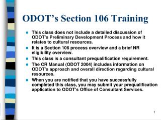 ODOT�s Section 106 Training