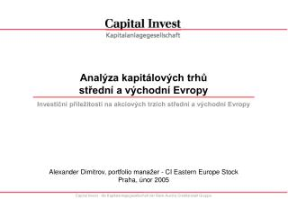 Analýza kapitálových trhů  střední a východní Evropy