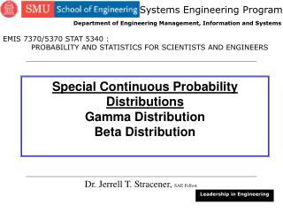 Special Continuous Probability Distributions Gamma Distribution Beta Distribution