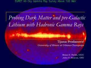 Probing Dark Matter and pre-Galactic Lithium with Hadronic Gamma Rays