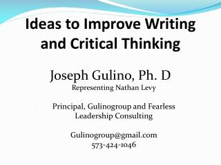 Ideas to Improve Writing and Critical Thinking