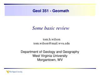 Geol 351 - Geomath