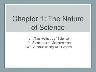 Chapter 1: The Nature of Science