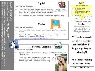 English Select one task to complete: