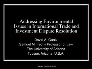 Addressing Environmental Issues in International Trade and Investment Dispute Resolution
