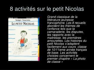 8 activit�s sur le petit Nicolas