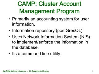 CAMP: Cluster Account Management Program