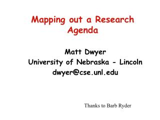 Mapping out a Research Agenda