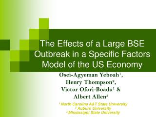 The Effects of a Large BSE Outbreak in a Specific Factors Model of the US Economy